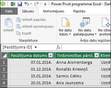 Power Pivot tabulas skatā