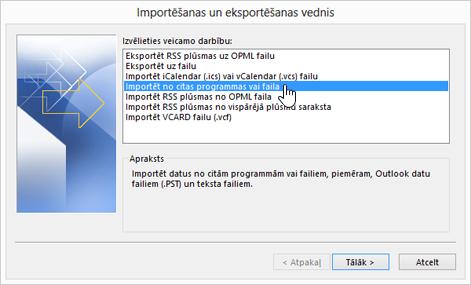 importēšanas un eksportēšanas vednis— importēšana no citas programmas vai faila
