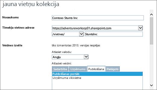 Jaunas vietnes kolekcijas dialoglodziņš augšējo ar publicēšanas portāls iezīmēta