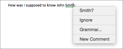 Grammatical error with contextual menu showing options for correcting it