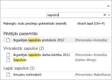 Izmantojiet meklēšanas funkciju, lai atrastu piezīmes jebkurā programmas OneNote vietā.