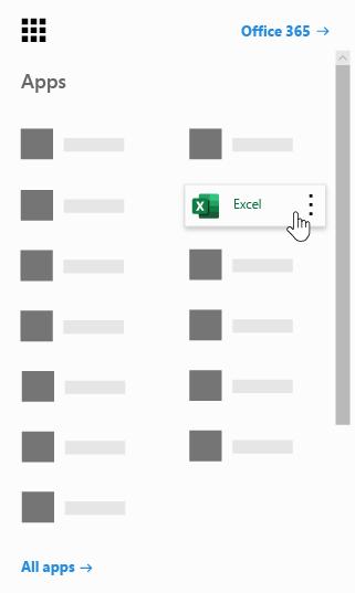 Office365 lietojumprogrammu palaidējs ar iezīmētu programmu Excel