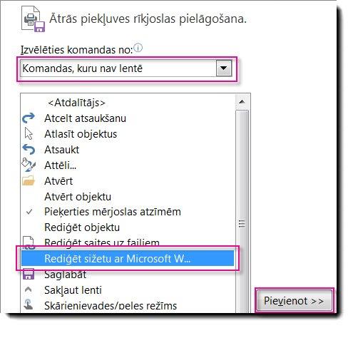 Pogas Sižeta rediģēšana ar Microsoft Word pievienošana Publisher ātrās piekļuves rīkjoslai.