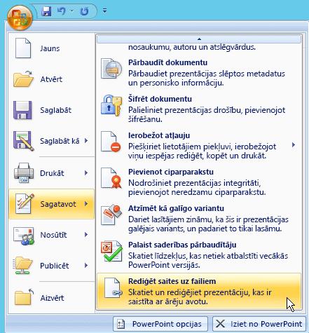 Atlasiet Office pogas, izvēlieties sagatavot un pēc tam atlasiet Rediģēt saites uz failiem.