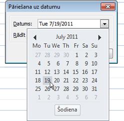 Dialoglodziņš pāriet uz datumu ar datumu navigatorā