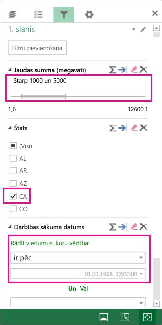 Ciparu, teksta vērtību un datumu filtri