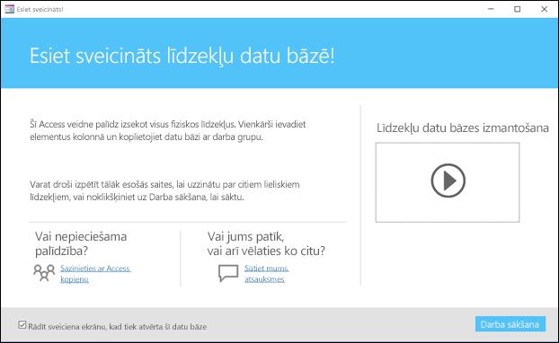 Access līdzekļu datu bāzes veidnes darba sākšanas forma