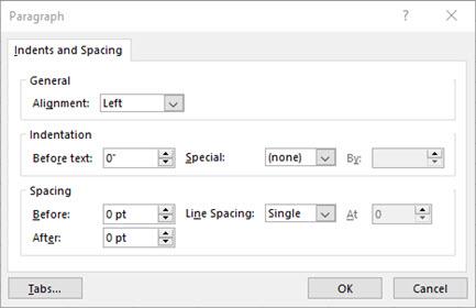 Dialoglodziņa rindkopa attēls teksta atkāpju un atstarpju rediģēšanai