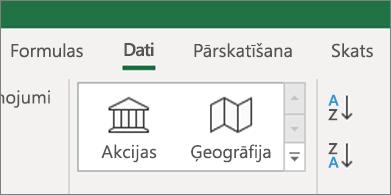 Cilne Dati, kurā redzami datu tipi Akcijas un Ģeogrāfija