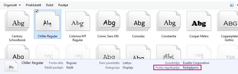Iegult fontu ekrāna 2