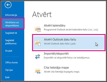 Atvērt Outlook datu failu