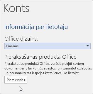 Ekrānuzņēmums ar konta informāciju programmā Word