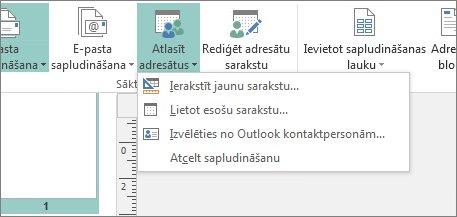 Cilnes Sūtījumi pogas Atlasīt adresātus opcijas