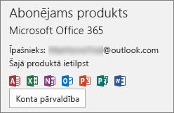 Parāda e-pasta kontu, kas saistīts ar Office