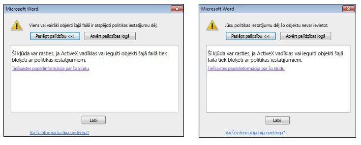 Iegulta objekta ActiveX vadīklas kļūdas ziņojums