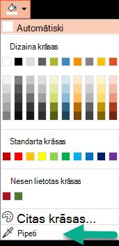 Pipetes komanda atrodas krāsu izvēlnē rūtī Formatēt fonu.