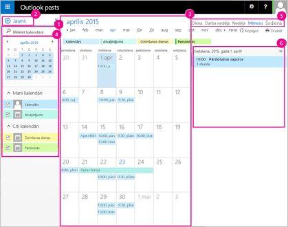 Kalendāru var izmantot, lai pārvaldītu sapulces un citus pasākumus.