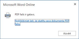 Word Online drukāšanas dialogs