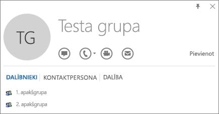Outlook kontaktpersonas vizītkartes cilnes Dalība ekrānuzņēmums ar grupu, kuras nosaukums ir Testa grupa. 1.apakšgrupa un 2.apakšgrupa tiek rādīta kā dalībnieki.