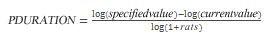 PDURATION vienādojums