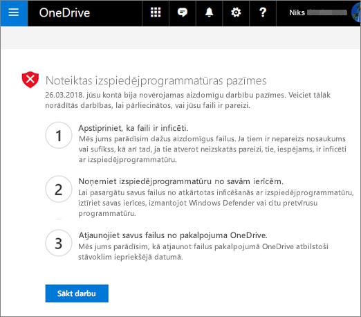 Ekrānuzņēmums, kurā redzamas ļaunprogrammatūras noteikšanas ekrāns OneDrive tīmekļa vietnē