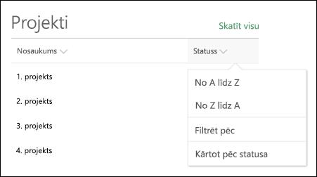 Saraksta tīmekļa daļa ar kārtošanas, filtrēšanas un grupēšanas izvēlni