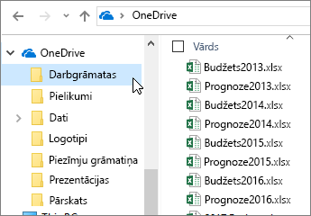 Windows Explorer, mape OneDrive, Excel faili