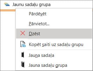 Sadaļu grupu dzēšana programmas OneNote darbam ar Windowsdialoglodziņā