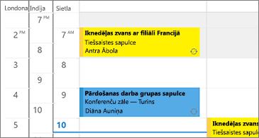Kalendārs ar 3 laika joslām pa kreisi un sapulcēm — pa labi