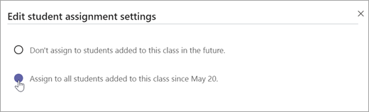 Izvēlieties piešķirt skolēniem, kas pievienoti šai klasei.