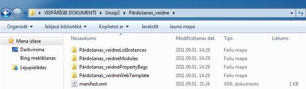 Ekrānuzņēmums, kurā redzama programma Windows Explorer ar tīmekļa risinājuma pakotni(.wsp), kas izgūta no ZIP arhīva.