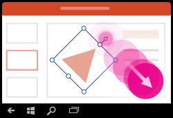 Programmas PowerPoint darbam ar Windows Mobile žests— formas pagriešana