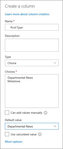 Kolonnas iestatīšanas piemērs ziņu kategorijām