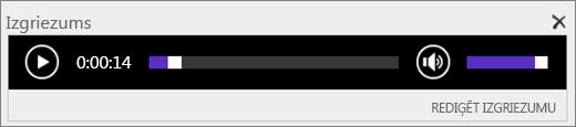 Ekrānuzņēmums ar pakalpojumu SharePoint Online, kurā fragmenta audio vadības joslā parādīts audio faila kopējais ilgums un pieejama vadīkla faila atskaņošanas sākšanai un pārtraukšanai.