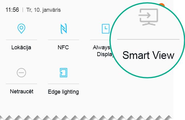 Ātrajos iestatījumos atrodiet opciju Smart View un pieskarieties, lai to atvērtu