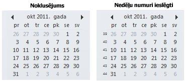 datumu navigators uzdevumu joslā ar un bez nedēļu numuriem