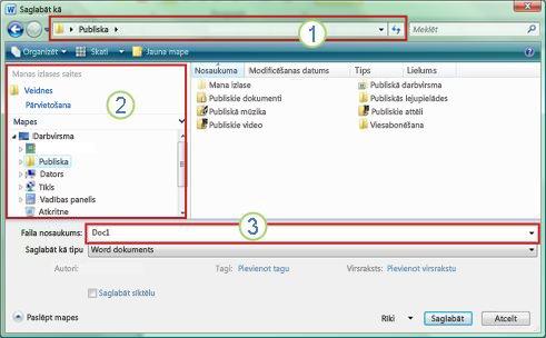 Dialoglodziņš Saglabāt kā operētājsistēmās Windows Vista un Windows7