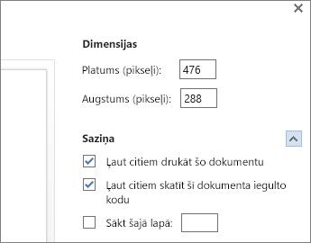 Word dokumenta iegulšanas opcijas