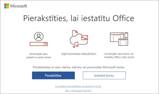 Rāda lapu Pierakstīties, lai iestatītu Office, kas varētu tikt rādīta pēc Office instalēšanas