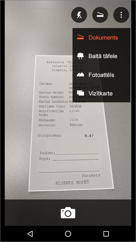 Ekrānuzņēmums, kurā parādīts, kā uzņemt attēlu produktā Office Lens darbam ar Android.