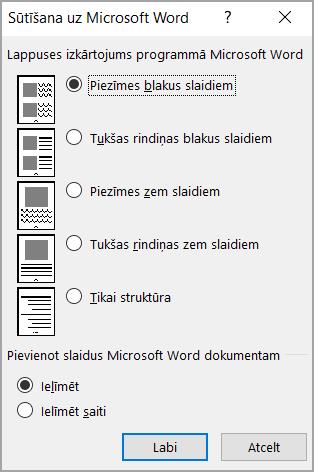 Sūtīšana uz Microsoft Word