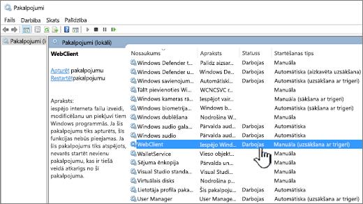 Windows pakalpojumu dialogs ar iezīmētu WebClient