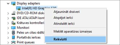 Atveriet Windows ierīču pārvaldnieku, lai pārvaldītu displeja adaptera draiverus.