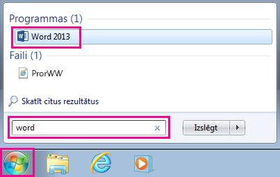 Meklējiet Office programmas operētājsistēmā Windows7