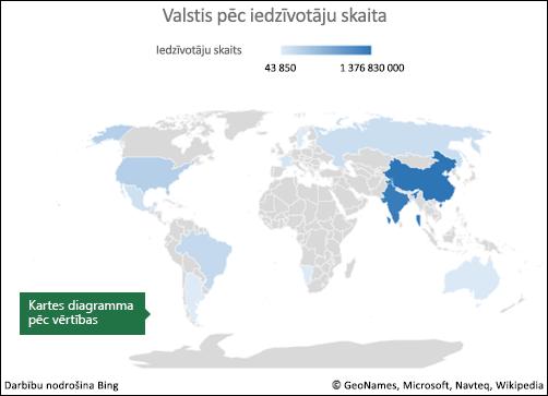 Excel kartes diagramma ar vērtību datiem