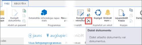 lietojumprogrammas dzēšana no bibliotēkas lietojumprogrammas darbam ar sharepoint programmu katalogā