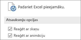 Excel vieglpiekļuves iestatījumu daļējs skats
