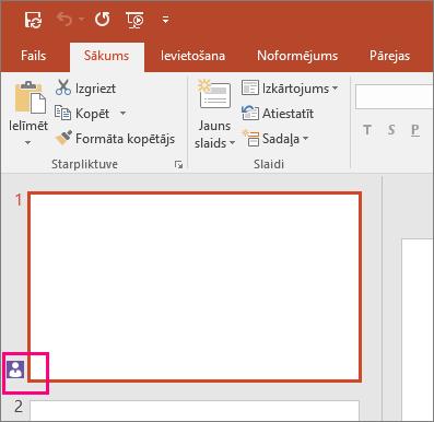 Parāda ikonu, kas norāda, ka kāds cits sadarbojas slaidā programmā PowerPoint2016