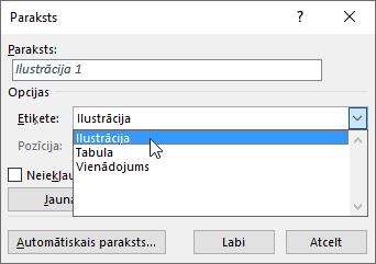 Izmantojiet parakstu dialoglodziņu, lai iestatītu sava attēla, tabulas vai vienādojuma parakstu opcijas.