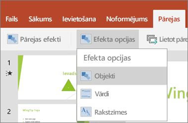 Tiek rādītas pārejas > efekta opciju izvēlne programmā PowerPoint darbam ar Android.